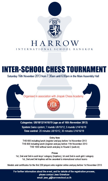 Harrow Inter-School Chess Tournament 2013 is open to all